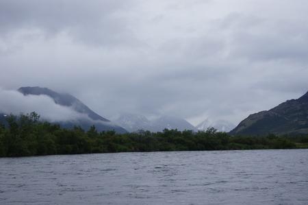 salmon run: Alaska Lake and Mountains Stock Photo