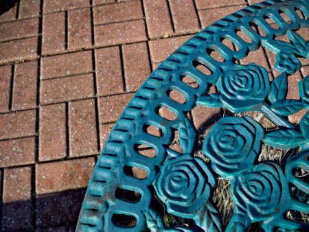 Rose motif patio table  Banco de Imagens