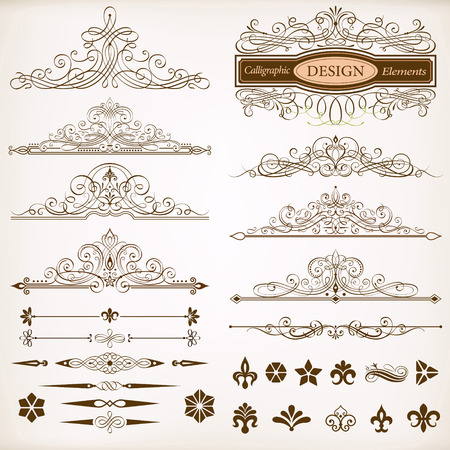 christmas scroll: Set of Calligraphic Frames and Design Elements Vector Illustration.