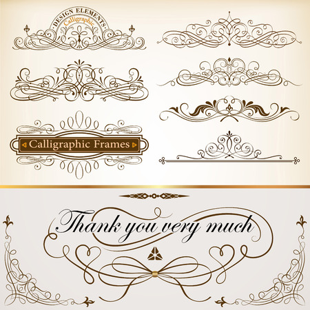 constructed: Set of Calligraphic Frames and Design Elements Vector Illustration.Saved in EPS 10 file with NO transparencies. All elements are separated and well constructed for easy editing.A large jpeg file included 4000x4000.