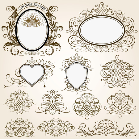 Set of calligraphic frames vector illustration.Saved in EPS 8 file, all elements are separated, well constructed for easy editing.Hi-res jpeg file included 4000x4000. Иллюстрация
