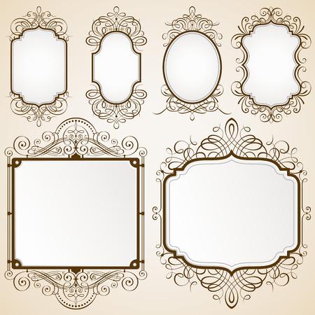 装飾的なフレーム ベクトル図のセットです。ない透明度を持つ EPS 10 ファイルに保存されます。すべての要素が分離、よく層し分け、よく簡単な編