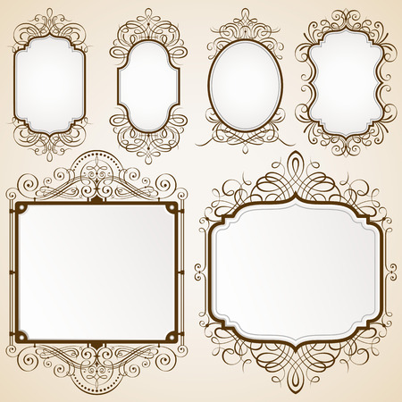 jpeg: Set of decorative frames vector illustration.Saved in EPS 10 file with NO transparencies. All elements are separated, well layered and grouped, well constructed for easy editing. Hi-res jpeg file included 5000x5000.