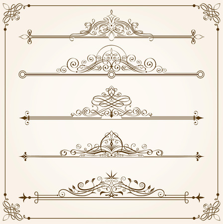 Set of Calligraphic frames vector illustration. Saved in EPS 8 file with all elements are separated, well designed for easy editing.Hi-res jpeg file included 4000x4000.
