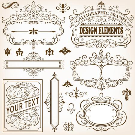 placa bacteriana: Conjunto de bastidores caligráficos y elementos de diseño de ilustración vectorial.