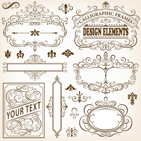 plaque: Set of calligraphic frames and design elements vector illustration.