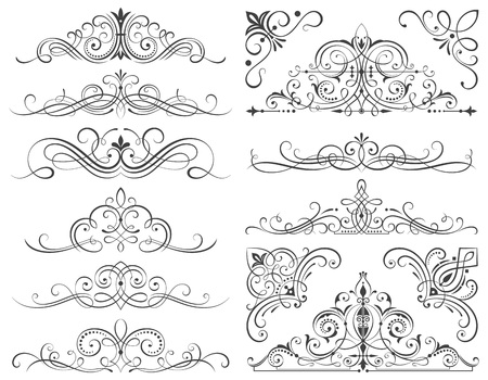 scroll: Set of calligraphic frames and scroll elements vector illustration.