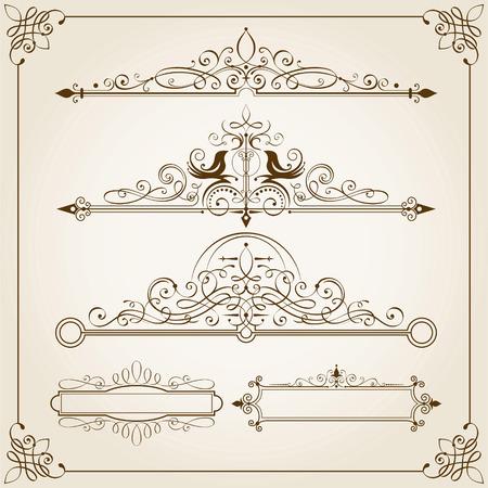 Set of Calligraphic Frames vector illustration.