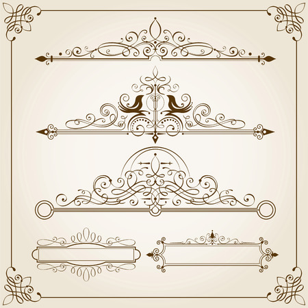 victorian frame: Set of Calligraphic Frames vector illustration.