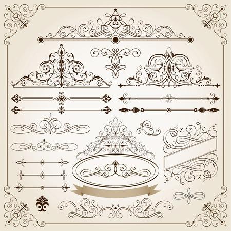 カリグラフィのフレームおよびページ装飾要素のセットです。  イラスト・ベクター素材