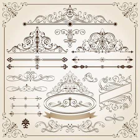 Set of Calligraphic frames and page decoration elements.