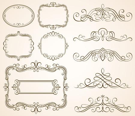 Set of decorative frames and scroll elements vector illustration.