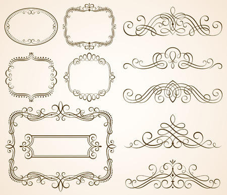 calligraphic: Set of decorative frames and scroll elements vector illustration.