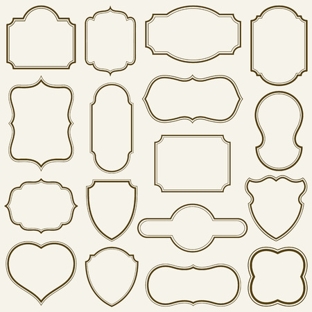 Set of simple frames vector illustration.