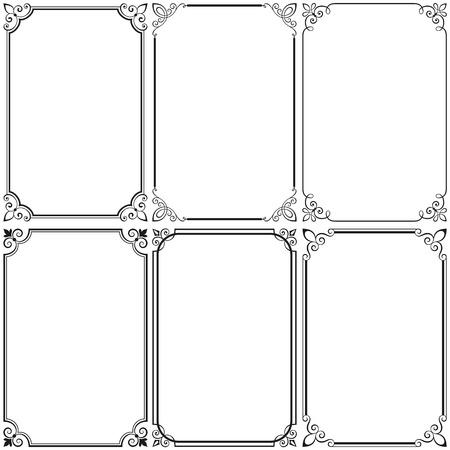 marcos decorativos: Conjunto de bastidores caligráficos vector illustration.Saved en EPS 8 archivo con todos los elementos se separan, bien construido para facilitar la edición. Hi-res jpeg archivo incluido 5000x5000.