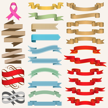breast cancer awareness ribbon: Set of Ribbons vector illustration.
