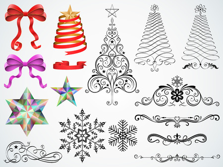 Set of Christmas ornaments and design elements vector illustration.