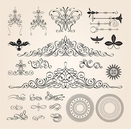 カリグラフィのフレームおよびページ装飾要素はベクトル イラストです。