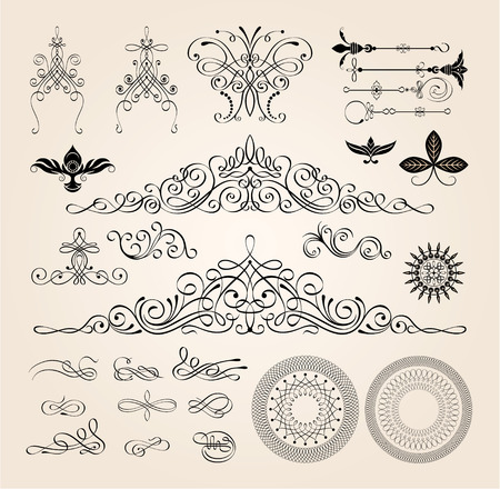 formal: Calligraphic frames and page decoration elements vector illustration.