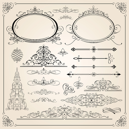 Set of Calligraphic frames, page divider and border elements vector illustration.