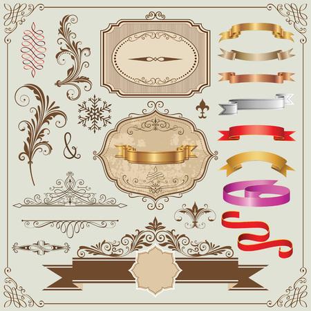 装飾的なフレーム、リボンおよびデザイン要素ベクトル イラストのセットです。