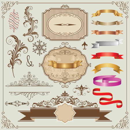Set of decorative frames, ribbons and design elements vector illustration.
