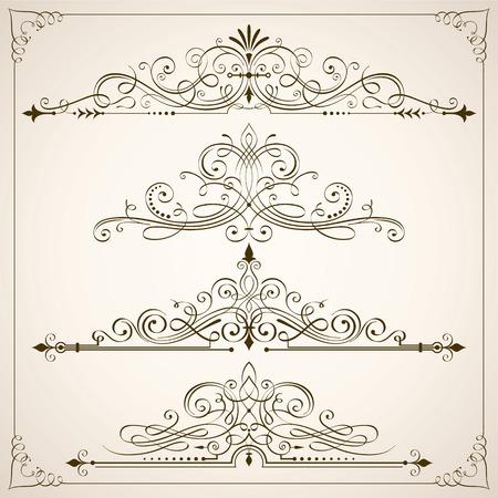 Set van kalligrafische frames en scrollelementen vectorillustratie.