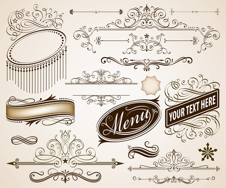 ottimo: Insieme dei telai calligrafici e decorazione di pagina illustrazione vettoriale elementi. Vettoriali