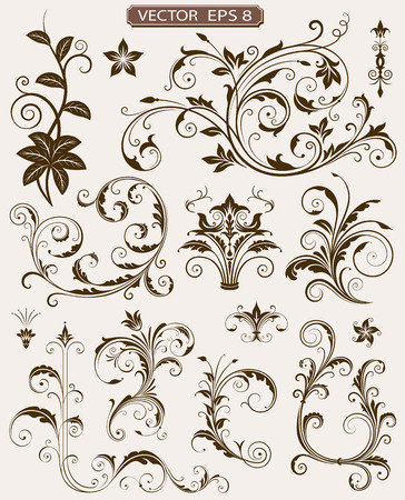 scroll design: Various ornate scroll design elements vector illustration.