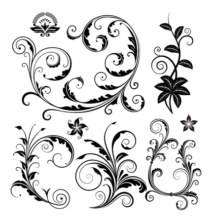 swirl patterns: Various ornate scroll design and swirling motifs vector illustration.