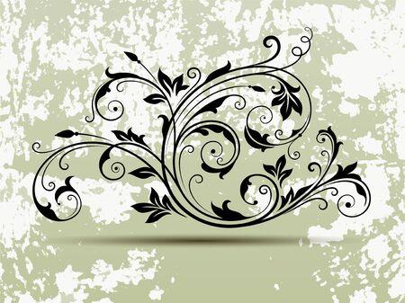 Ornate scroll design elements with Grunge texture background vector illustration. Çizim