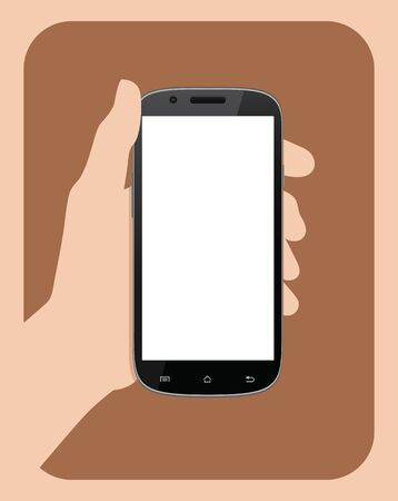 Simple hand holding mobile phone vector illustration.