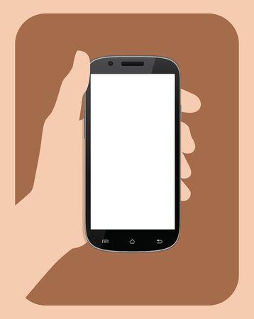 tomados de la mano: Simple mano que sostiene la ilustraci�n del vector del tel�fono m�vil. Vectores