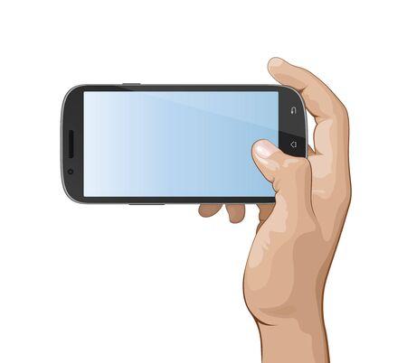 Hand holding smart phone vector illustration.