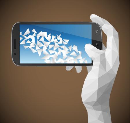 Hand holding smart phone vector illustration with triangulation style. Çizim