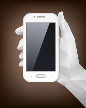 Hand holding smart phone vector illustration with triangular pattern