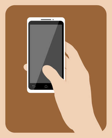 holding hand: Simple hand holding mobile phone vector illustration.  Illustration