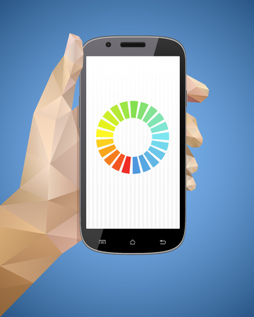 Hand holding smart phone vector illustration with triangulation style.