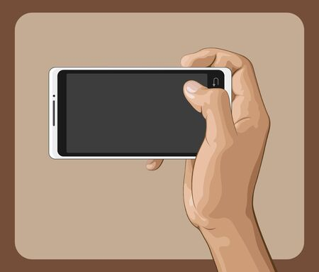 phone hand: Hand holding mobile phone vector illustration.