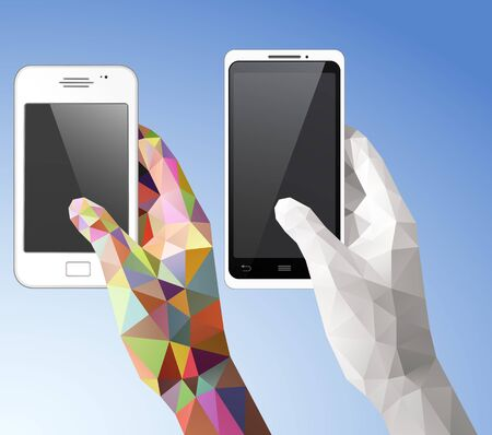 Two Hands holding smart phone vector illustration with triangular style. Saved in EPS 10 file with transparencies. All related elements are grouped and layered, well constructed for easy editing. Hi-res jpg file included 5000x4400.