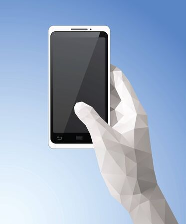 Hand Holding Mobile Phone vector illustration with triangular style. Saved in EPS 10 file with transparencies. All related elements are grouped and layered, well constructed for easy editing. Hi-res jpg file included 4100x5000. Çizim