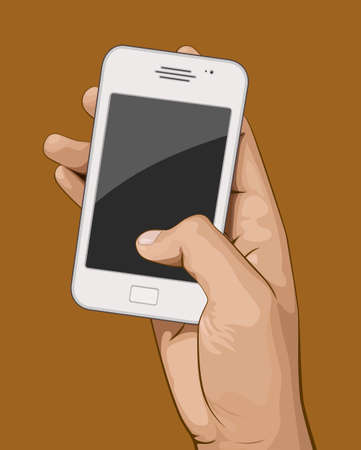 Hand holding mobile phone vector illustration. Saved in EPS 8 file with all related elements are separated and grouped. Well constructed for easy editing.Hi-res jpeg file included 4000x5000. Çizim
