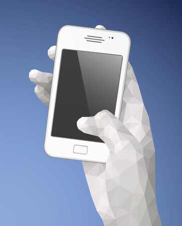 Hand holding smart phone vector illustration with triangulation style. Saved in EPS 8 file. All related elements are grouped and layered, well constructed for easy editing.Hi-res jpg file included 4000x5000.