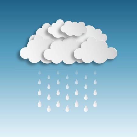 gotas de agua: Nubes de papel con la gota de agua ilustración vectorial. Guardado en EPS 10 con efectos sin transparencias, used.Effects máscara 1 de opacidad: Gota shadow.Hi-res jpeg incluido 4000x4000.