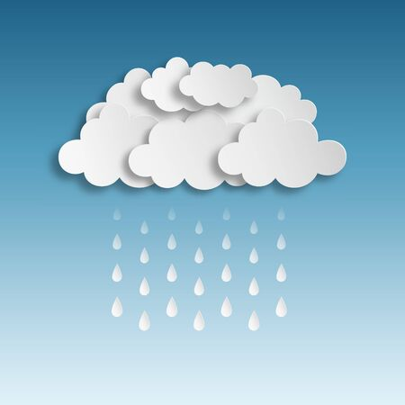 clouded sky: Paper clouds with Raindrop vector illustration. Saved in EPS 10 with effects without transparencies, 1 opacity mask used.Effects used: Drop shadow.Hi-res jpeg included 4000x4000.