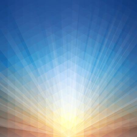 幾何学模様と夕日を背景ベクトル イラスト。透明度、よく簡単に編集できる構築で eps 10 ファイルに保存されます。高解像度 jpeg ファイルは、5000 ×