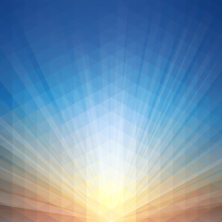 Sunset background vector illustration with geometric pattern.Saved in eps 10 file with transparencies, well constructed for easy editing. Hi-res jpeg file included 5000x5000. Vectores