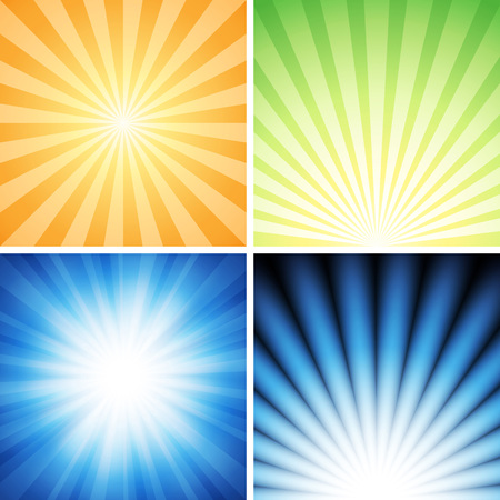 Four radiance backgrounds vector illustration.Saved in EPS 10 with transparencies, well layered and easy to  usecustomize. Hi-res jpeg file included 5000x5000.