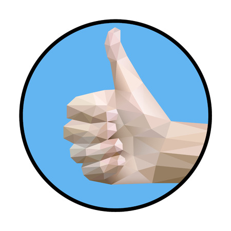 thumbup: Thumb up sign vector illustration with geometric style.Saved in EPS 8 file, well constructed and easy to use.Hi-res jpeg file included 4000x4000.