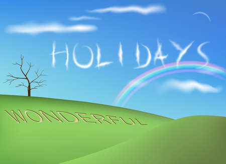 saved: Holiday background vector illustration. Saved in EPS 10 with transparencies and gradient meshes, no effect used. All related elements are gruped separately.Hi-res jpeg file included 5500x4000.